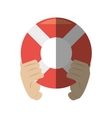 hand holding life buoy rescue shadow vector image vector image