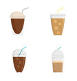ice coffee cream cold cup icons set flat style vector image