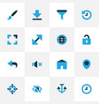 interface icons colored set with target hide vector image