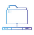 line technology data file folder server vector image