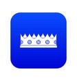 little crown icon digital blue vector image vector image