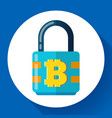 lock with bitcoin symbol icon cryptocurrency vector image vector image