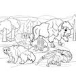 mammals animals cartoon coloring page vector image