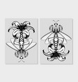 mantis insect with lily flower flora and fauna vector image vector image