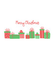 merry christmas greeting card with cute hand drawn vector image