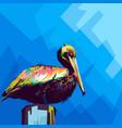 pelican in wpap pop art vector image vector image