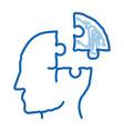 puzzle detail man silhouette headache doodle icon vector image vector image
