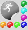 running man icon sign Set of eight multi colored vector image vector image