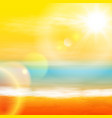 sea sunset with bright sun light on lens vector image