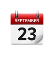 September 23 flat daily calendar icon vector image