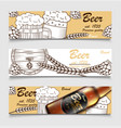 set cartoon banners with beer glasses bottle vector image vector image