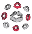 Set of grunge kisses vector image