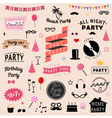 set party icons signs and symbols vector image
