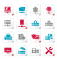 stylized server hosting and internet icons vector image vector image