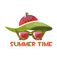 sunglasses and a watermelon beach hat in summer vector image vector image