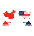 united states map and china map with tank facing vector image vector image