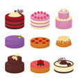 cakes set icons in cartoon flat style vector image