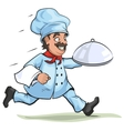 Male chef carries finished dish on platter vector image