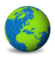 earth globe with green world map and blue seas and vector image
