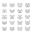 halloween face thin line icon set editable stroke vector image