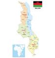 administrative map malawi vector image vector image