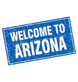 Arizona blue square grunge welcome to stamp vector image vector image