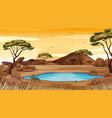 background scene with pond in desert land vector image vector image