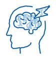 brain lightning volt silhouette headache vector image vector image