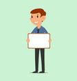 businessman holding blank board vector image