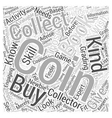 BWCC coin collecting book Word Cloud Concept vector image vector image