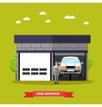 Car repair shop concept in vector image
