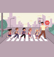 children crosswalk students group with backpacks vector image vector image