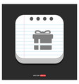 christmas gift box icon gray icon on notepad vector image