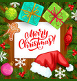 christmas tree xmas gifts and gingerbread frame vector image
