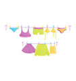 clean clothes hanging on ropes female garment vector image