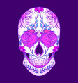 color neon of a sugar skull wit vector image