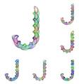 Colorful ellipse fractal font - letter J vector image vector image