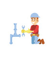 construction worker with wrench tool and pipeline vector image vector image