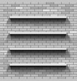 empty shelves on a brick wall template background vector image