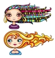 girls hair styles vector image vector image