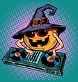 halloween pumpkin dj character musical holiday vector image vector image