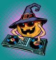 halloween pumpkin dj character musical holiday vector image