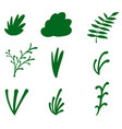 hand drawn green floral icons set vector image vector image