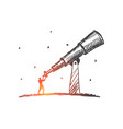 hand drawn man looking through huge telescope vector image vector image