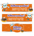 Happy halloween greeting horizontal banners