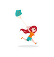 happy kid girl character running with blue kite vector image vector image