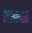 happy new year party line colored vector image vector image