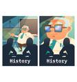 history cartoon posters teacher explain lesson vector image