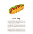 hot dog junk food poster meal vector image vector image