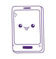 kawaii smartphone device cute cartoon isolated vector image